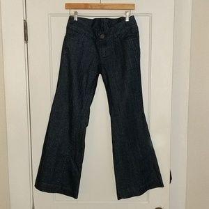 Anthro Level 99 wide leg dark jeans, size 28